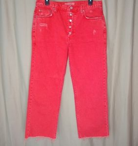WE THE FREE distressed red high rise cropped jeans